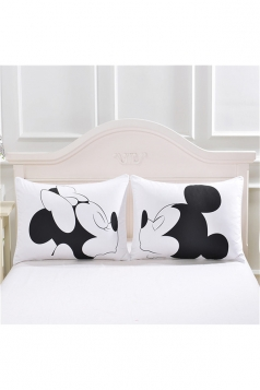 Easeful Cartoon Mickey Couple Long Distance Pillow Cover White 30x20in