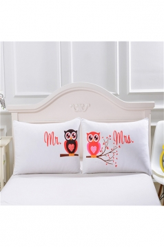 Easeful Cartoon Owl Couple Long Distance Pillow Cover White 35x20in