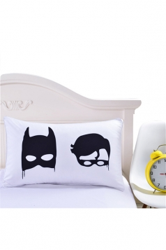 Lovely Cartoon Batman Printed Decorative Pillow Cover White 35x20in