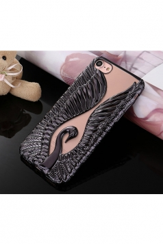 Black Fashion Full Protective Back Swan Relievo Hard Case for iPhone