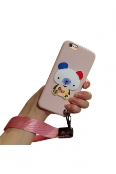 White Silicone Cartoon Bear Sticker With Lanyard TPU Case for iPhone