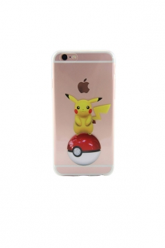 Black And White Pokemon Pikachu Transparent Soft Case for iPhone