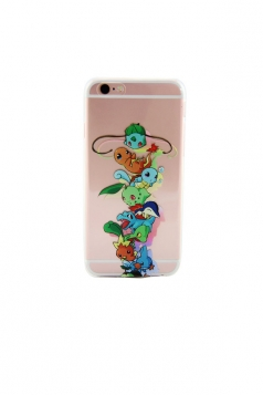 Green Stylish Pokemon Printed Transparent Soft Case for iPhone