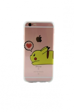 Red Stylish Pokemon Pikachu Transparent Soft Case for iPhone