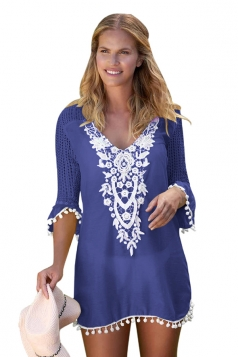 Womens Half Sleeve Crochet Patchwork Pom Pom Trim Beach Dress Blue