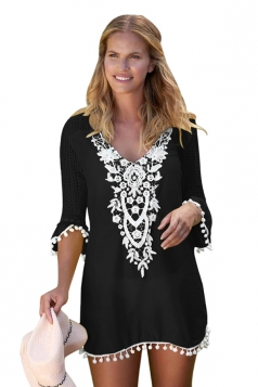 Womens Half Sleeve Crochet Patchwork Pom Pom Trim Beach Dress Black