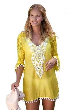 Womens Half Sleeve Crochet Patchwork Pom Pom Trim Beach Dress Yellow