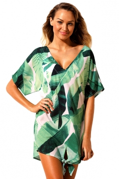 Womens Tie Knot Short Sleeve Palm Leaves Printed Beach Dress Green