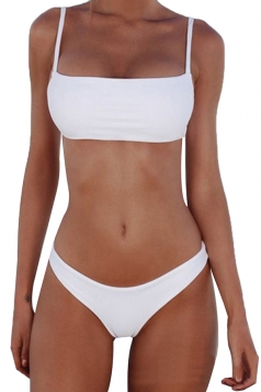 Womens Sexy Spaghetti Strap Top&Swimwear Bottom Plain Bikini Set White