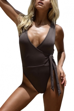 Womens Sexy V Neck Wrap Front Waist Tie Plain One Piece Swimsuit Gray