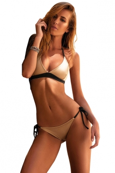 Womens V Neck Halter Top&String Swimwear Bottom Plain Bikini Apricot