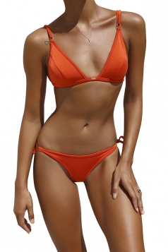 Womens Back Lace Up Top&String Swimwear Bottom Plain Bikini Orange