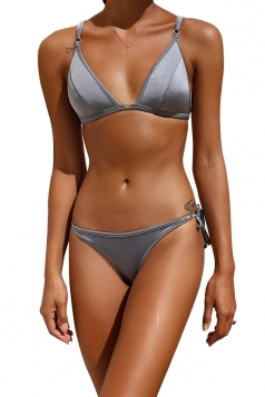 Womens Sexy Back Lace Up Top&String Swimwear Bottom Plain Bikini Gray
