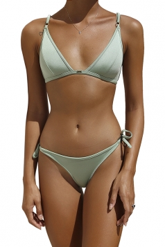 Womens Sexy Back Lace Up Top&String Swimwear Bottom Bikini Light Green