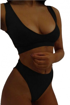 Womens Sexy Crew Neck Tank Top&High Waist Bottoms Plain Bikini Black