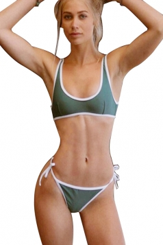 Womens U Neck Tank Top&String Swimwear Bottom Plain Bikini Army Green