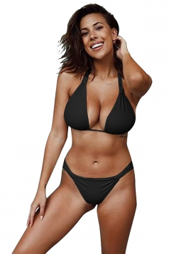 Womens Sexy Halter Backless Push Up String Bikini Set Black