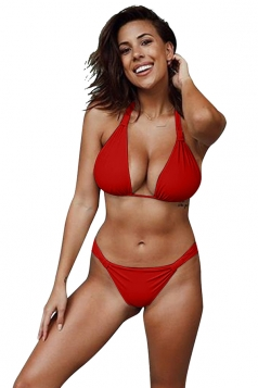 Womens Sexy Halter Backless Push Up String Bikini Set Red