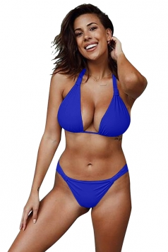 Womens Sexy Halter Backless Push Up String Bikini Set Sapphire Blue