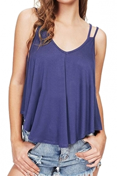 Womens Sexy V Neck Asymmetrical Hem Loose Plain Slip Tank Top Blue