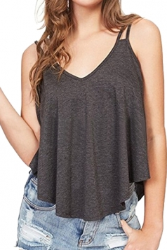 Womens Sexy V Neck Asymmetrical Hem Loose Plain Tank Top Dark Gray