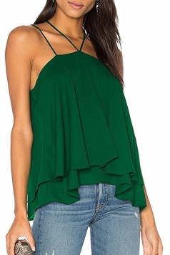 Womens Sexy Halter Layer Hem Loose Plain Slip Tank Top Army Green