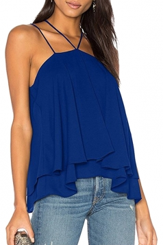 Womens Sexy Halter Layer Hem Spaghetti Straps Plain Slip Tank Top Blue