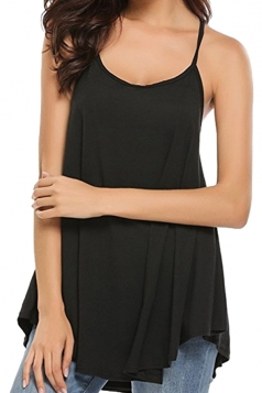 Womens Sexy Spaghetti Straps High Low Loose Plain Slip Tank Top Black