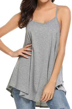 Womens Sexy Spaghetti Straps High Low Loose Plain Slip Tank Top Gray