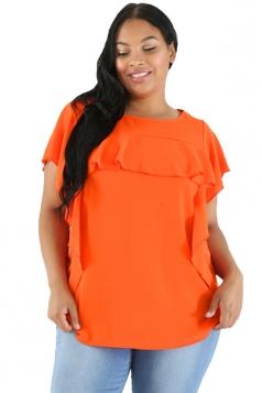 Womens Oversized Short Sleeve Ruffle Hem Plain Plus Size Top Orange
