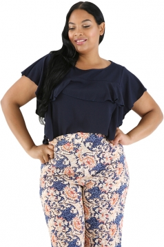 Womens Oversized Short Sleeve Ruffle Hem Plain Plus Size Top Navy Blue