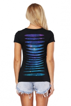 Womens Close-Fitting Cut Out Short Sleeve Crew Neck Galaxy Top Blue