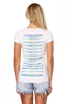 Womens Trendy Cut Out Short Sleeve Crew Neck Mermaid Top Light Blue
