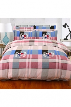 Cozy Coloured Four Piece Color Block Plaid Full Size Bed Sets Gray