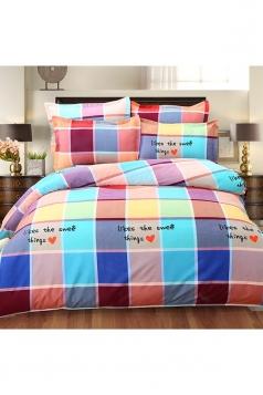 Cozy Coloured Couple Four Piece Color Block Plaid Full Size Bed Sets