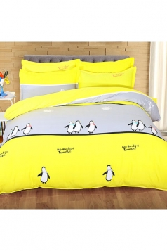 Four Piece Color Block Penguin Printed Full Size Bed Sets Yellow