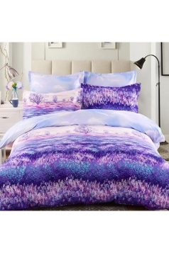 Colourful Romantic Four Piece Provence Full Size Bed Sets Purple