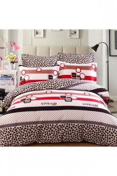 Colourful Four Piece Leopard Print Full Size Bed Sets Black And White