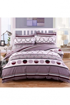 Concise Style Cozy Four Piece Color Block Full Size Bed Sets Gray