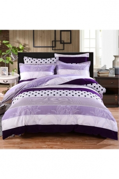 Elegant Concise Style Four Piece Color Block Full Size Bed Sets Purple