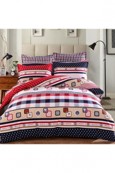 Coloured Homelike Polka Dot North American Style Full Size Bed Sets