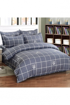 Concise Style Four Piece Plaid Full Size Bed Sets Gray