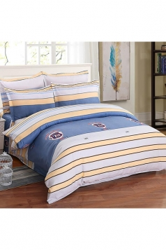 Soft Concise Style Four Piece Color Block Full Size Bed Sets Blue