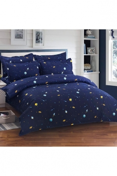 Full Size Soft Warm Couple Four Piece Galaxy Bed Set Blue