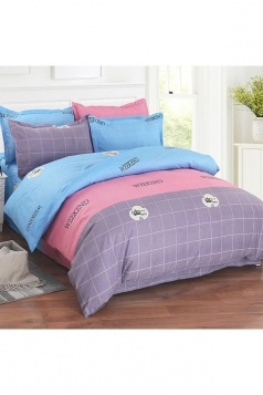 Soft Colourful Four Piece Color Block Full Size Bed Sets Blue