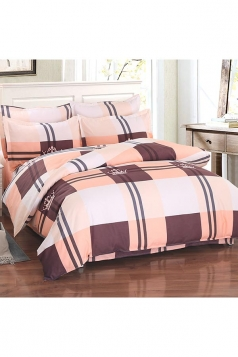 Cozy Concise Style Couple Color Block Plaid Full Size Bed Sets Coffee