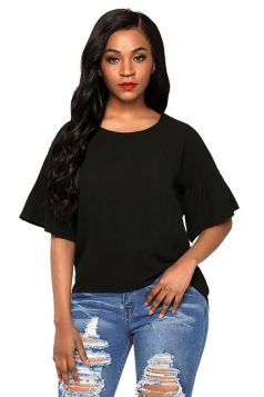 Womens Casual Short Bell Sleeve Curved High Low Blouse Black