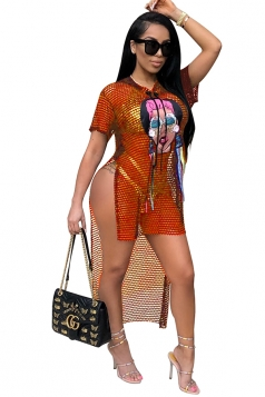 Sexy Short Sleeve High Low Hem High Split Fishnet Club Dress Orange