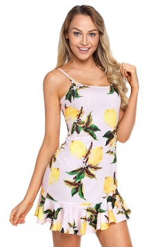 Spaghetti Straps Fruit Print Ruffle Hem Mini Dress Yellow
