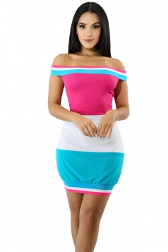 Sexy Off Shoulder Color Block Bodycon Dress Pink